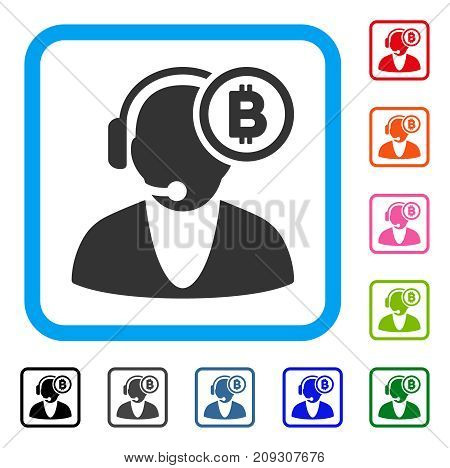 Bitcoin Operator icon. Flat gray iconic symbol in a light blue rounded squared frame. Black, gray, green, blue, red, orange color versions of Bitcoin Operator vector.