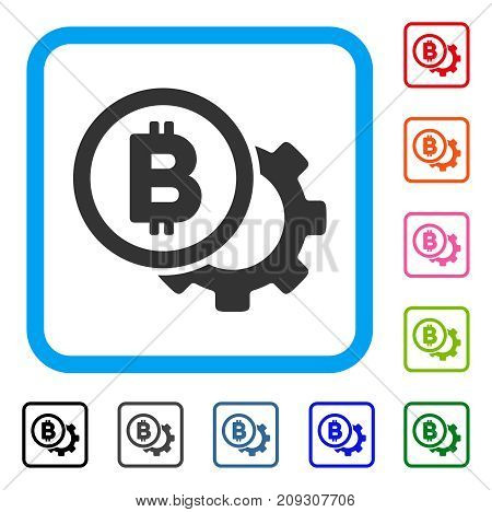 Bitcoin Options Cog icon. Flat grey iconic symbol inside a light blue rounded square. Black, gray, green, blue, red, orange color versions of Bitcoin Options Cog vector.