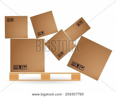 Cardboard Boxes With Cargo Fallen And Scattered On A Wooden Pallet. Euro Pallets. Warehouse With Goo