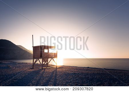 Evening Sun On Lifeguard Tower On Ostriconi Beach In Corsica