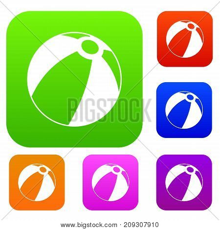 Beach ball set icon color in flat style isolated on white. Collection sings vector illustration