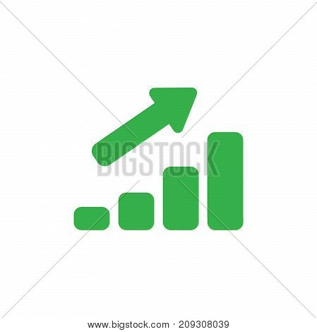 Flat Design Style Vector Concept Of Sales Bar Chart Icon With Arrow Pointing Up On White