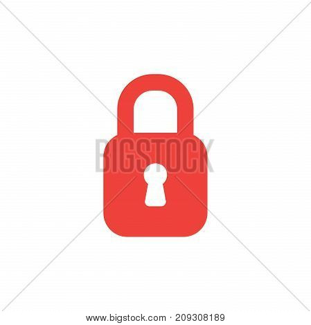 Flat Design Style Vector Concept Of Red Closed Padlock Icon On White