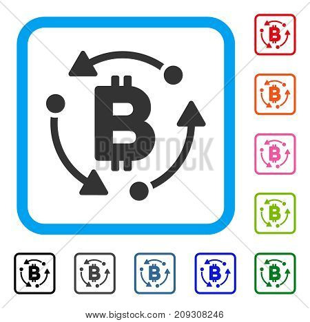 Bitcoin Rotation icon. Flat grey iconic symbol in a light blue rounded square. Black, gray, green, blue, red, orange color additional versions of Bitcoin Rotation vector.
