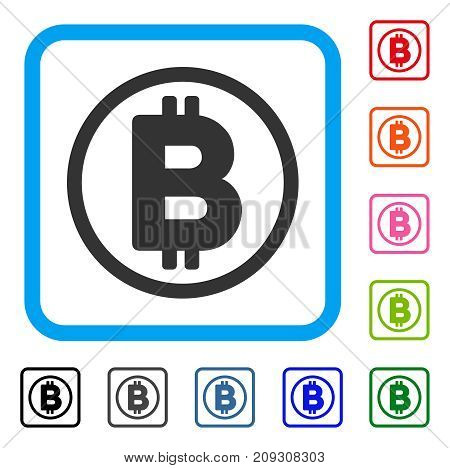 Bitcoin Rounded icon. Flat grey iconic symbol inside a light blue rounded square. Black, gray, green, blue, red, orange color variants of Bitcoin Rounded vector.