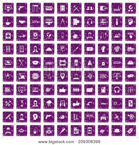 100 support center icons set in grunge style purple color isolated on white background vector illustration