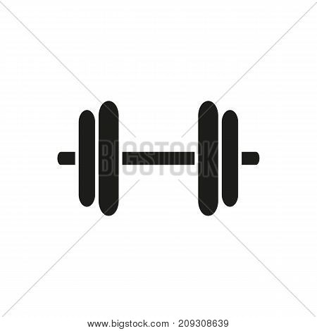 Simple icon of dumbbell. Fitness equipment, barbell, weightlifting. Sporting goods concept. Can be used for topics like sport, leisure, gym