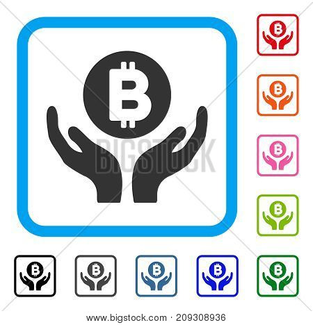 Bitcoin Support Hands icon. Flat gray pictogram symbol inside a light blue rounded rectangle. Black, gray, green, blue, red, orange color versions of Bitcoin Support Hands vector.