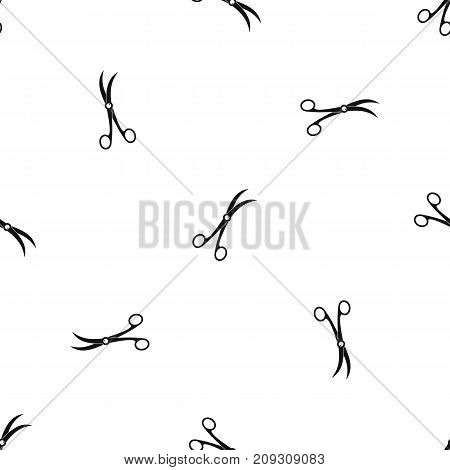 Surgical scissors pattern repeat seamless in black color for any design. Vector geometric illustration