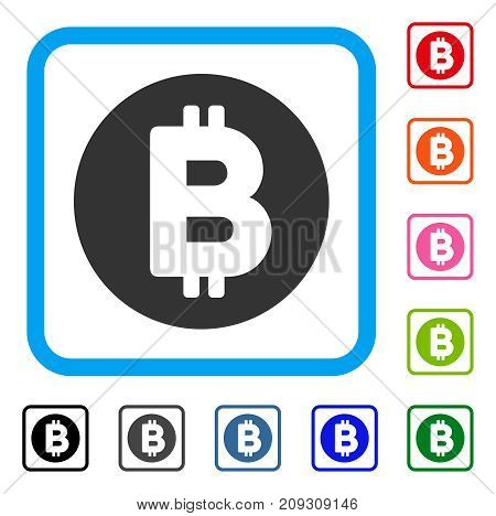 Bitcoin icon. Flat grey iconic symbol in a light blue rounded squared frame. Black, gray, green, blue, red, orange color variants of Bitcoin vector. Designed for web and app user interface.