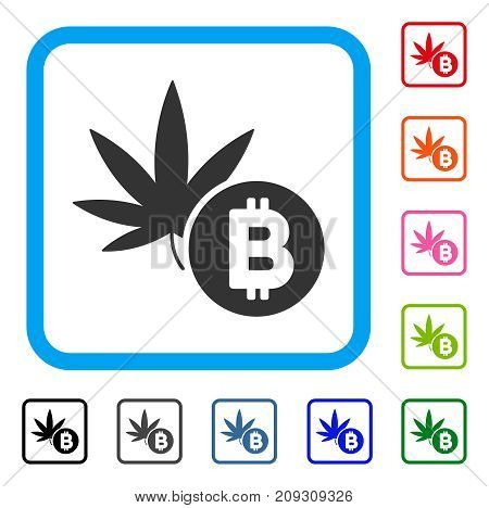 Cannabis Bitcoin icon. Flat grey iconic symbol in a light blue rounded frame. Black, gray, green, blue, red, orange color additional versions of Cannabis Bitcoin vector.