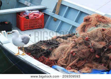 fishing boat with seagull fishing boat with seagull