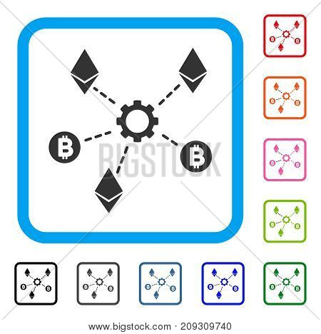 Cryptocurrency Network Nodes icon. Flat gray iconic symbol in a light blue rounded rectangle. Black, gray, green, blue, red, orange color variants of Cryptocurrency Network Nodes vector.