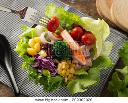 Healthy food, fresh vegetables salad in salad bowl