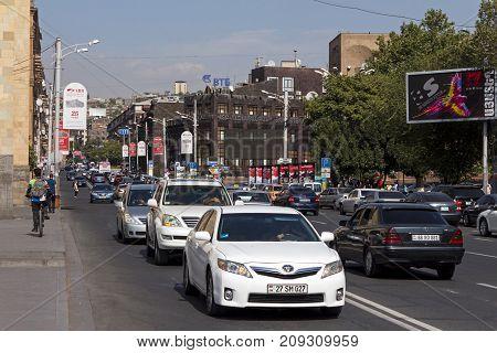 YEREVAN, ARMENIA - SEPTEMBER 20,2017 :Rush Hour Traffic in the historical center of Yerevan,Armenia.