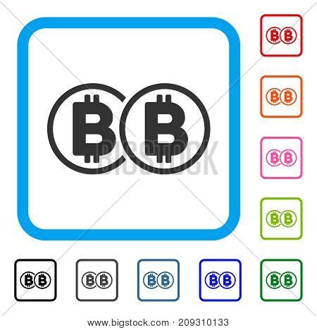 Double Bitcoin icon. Flat grey iconic symbol inside a light blue rounded rectangle. Black, gray, green, blue, red, orange color versions of Double Bitcoin vector.