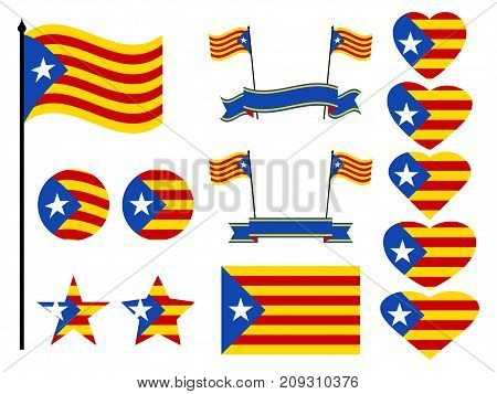 Catalonia Flag Set. Collection Of Symbols Heart And Circle. Vector Illustration