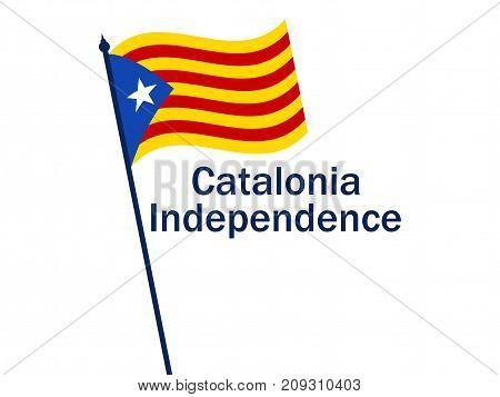 Catalonia Independence Flag On White Background. Vector Illustration