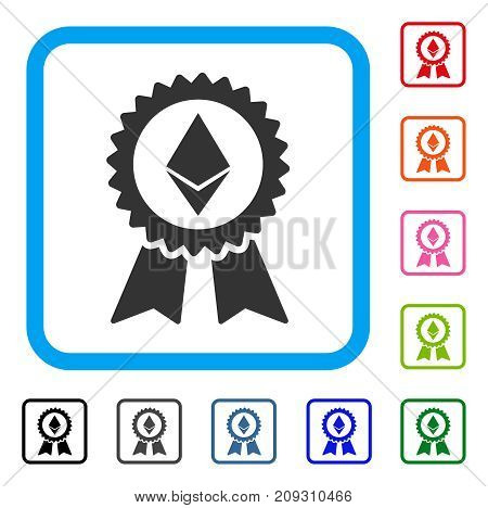 Ethereum Award Seal icon. Flat grey pictogram symbol in a light blue rounded frame. Black, gray, green, blue, red, orange color versions of Ethereum Award Seal vector.