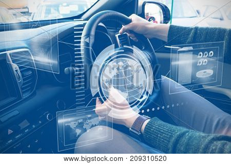 Technology interface  against midsection of customer examining car