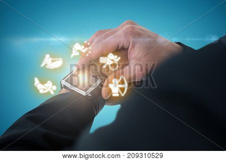 Businessman checking time against blue vignette background