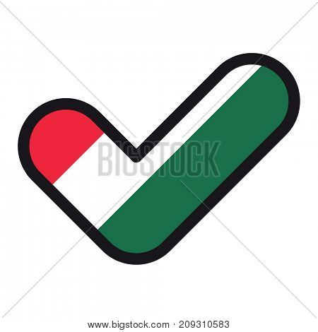 Flag of Hungary in the shape of check mark, vector sign approval, symbol of elections, voting.