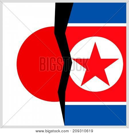 Japan and North Korea flags with a crack.