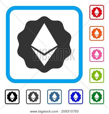 Ethereum Badge Seal icon. Flat gray pictogram symbol inside a light blue rounded rectangle. Black, gray, green, blue, red, orange color additional versions of Ethereum Badge Seal vector.