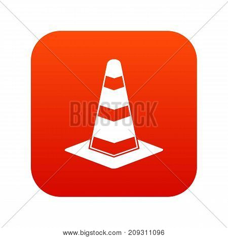 Traffic cone icon digital red for any design isolated on white vector illustration