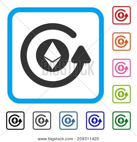 Ethereum Chargeback icon. Flat gray iconic symbol inside a light blue rounded rectangular frame. Black, gray, green, blue, red, orange color additional versions of Ethereum Chargeback vector.