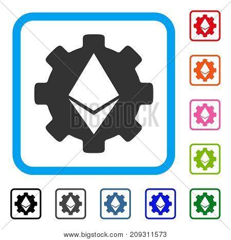 Ethereum Cog Wheel icon. Flat grey pictogram symbol in a light blue rounded rectangular frame. Black, gray, green, blue, red, orange color variants of Ethereum Cog Wheel vector.