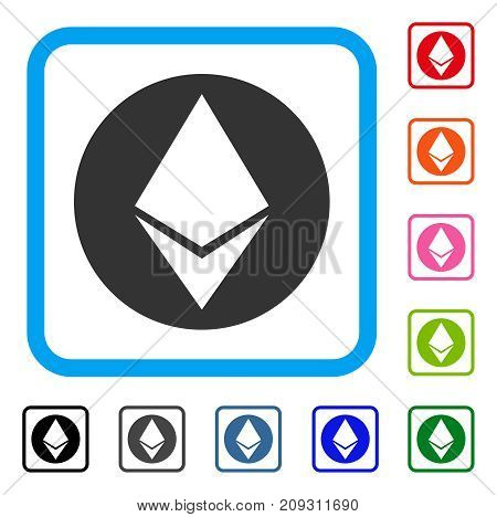 Ethereum Coin icon. Flat gray pictogram symbol in a light blue rounded rectangular frame. Black, gray, green, blue, red, orange color variants of Ethereum Coin vector.
