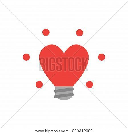 Flat Design Style Vector Concept Of Glowing Heart-shaped Light Bulb Icon On White