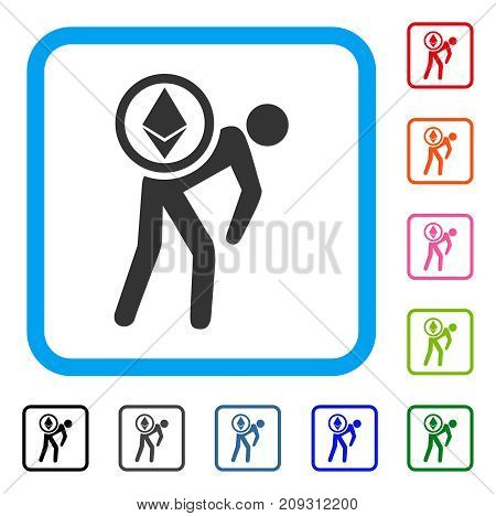 Ethereum Courier Man icon. Flat gray pictogram symbol in a light blue rounded squared frame. Black, gray, green, blue, red, orange color additional versions of Ethereum Courier Man vector.