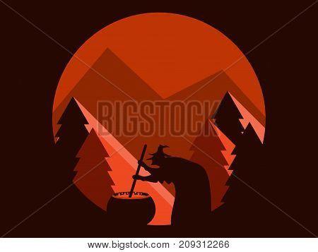 Halloween Witch Is Brewing A Potion. Mountain Landscape Flat Style. Festive Illustration. Vector