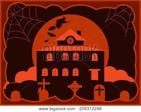 Halloween Creepy House With A Cemetery, A Flying Witch In The Background Of The Moon. Vector Illustr