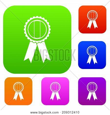 Rosette set icon color in flat style isolated on white. Collection sings vector illustration