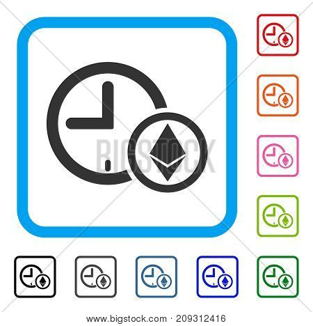 Ethereum Credit Clock icon. Flat grey pictogram symbol inside a light blue rounded rectangular frame. Black, gray, green, blue, red, orange color variants of Ethereum Credit Clock vector.