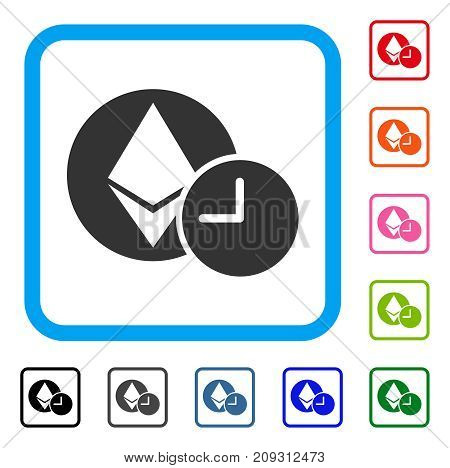 Ethereum Credit Clock icon. Flat gray pictogram symbol inside a light blue rounded rectangular frame. Black, gray, green, blue, red, orange color variants of Ethereum Credit Clock vector.
