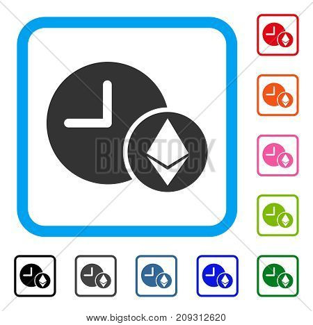 Ethereum Credit Clock icon. Flat gray iconic symbol in a light blue rounded rectangle. Black, gray, green, blue, red, orange color versions of Ethereum Credit Clock vector.