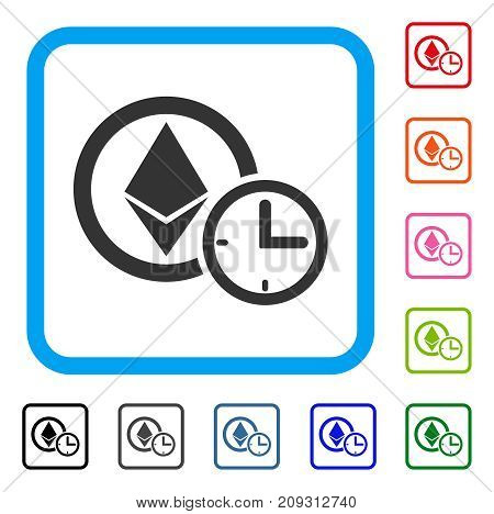 Ethereum Credit Clock icon. Flat gray iconic symbol inside a light blue rounded square. Black, gray, green, blue, red, orange color variants of Ethereum Credit Clock vector.