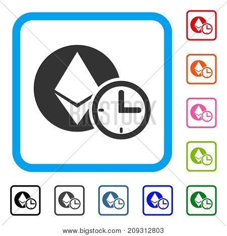 Ethereum Credit Time icon. Flat gray pictogram symbol in a light blue rounded rectangle. Black, gray, green, blue, red, orange color additional versions of Ethereum Credit Time vector.