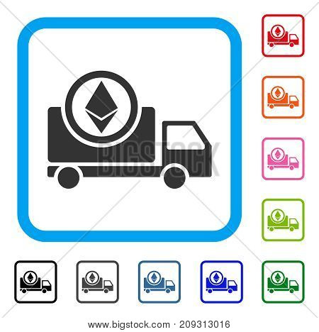 Ethereum Delivery Truck icon. Flat grey iconic symbol inside a light blue rounded frame. Black, gray, green, blue, red, orange color versions of Ethereum Delivery Truck vector.