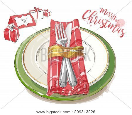 Christmas table decorating setting. Vector Festive cutlery set: forks, knives, empty plates on cloth napkin. Top view. Watercolor isolated illustration on white background.