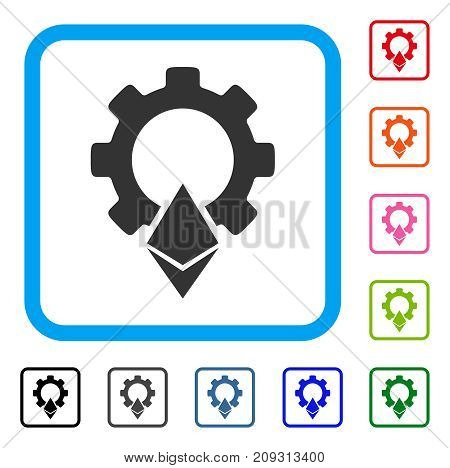 Ethereum Gear icon. Flat gray iconic symbol inside a light blue rounded rectangular frame. Black, gray, green, blue, red, orange color additional versions of Ethereum Gear vector.