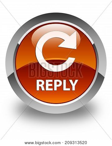 Reply (rotate Arrow Icon) Glossy Brown Round Button
