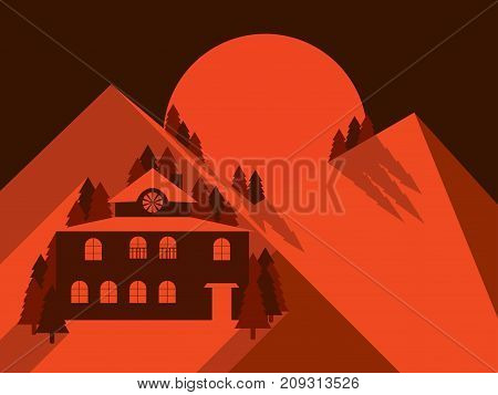 House In The Mountains Is Flat Style. Mountain Landscape Dawn. Lonely Hotel. Vector Illustration
