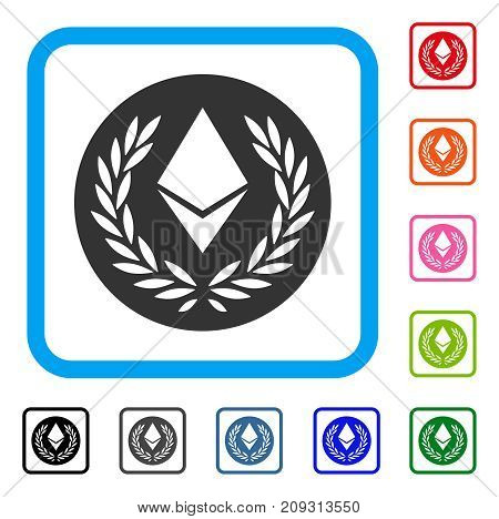 Ethereum Laurel Coin icon. Flat gray pictogram symbol in a light blue rounded square. Black, gray, green, blue, red, orange color additional versions of Ethereum Laurel Coin vector.