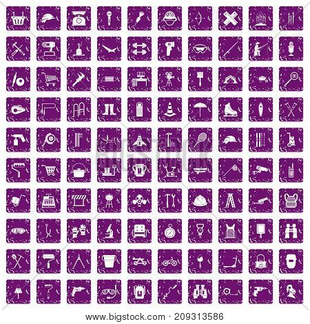 100 tackle icons set in grunge style purple color isolated on white background vector illustration