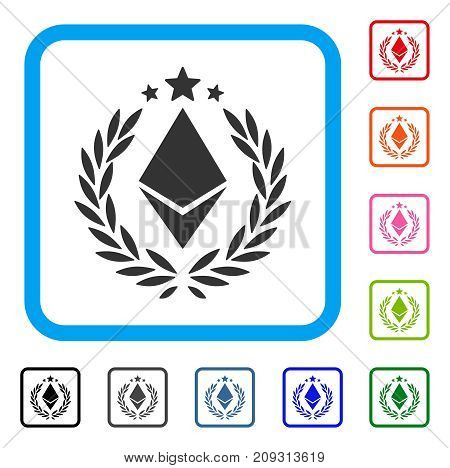 Ethereum Laurel Wreath icon. Flat gray iconic symbol in a light blue rounded rectangle. Black, gray, green, blue, red, orange color variants of Ethereum Laurel Wreath vector.